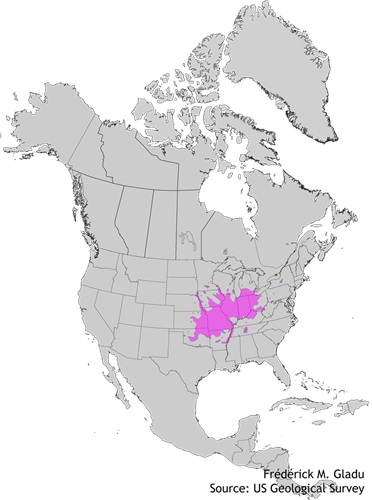 Aire de répartition naturelle du chicot du Canada